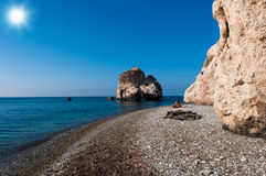 Aphrodite's Rock. Bay on the island of Cyprus with the legendary rock of Aphrodite Stock Photos
