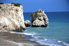 Aphrodite's rock and beach in Cyprus Royalty Free Stock Images
