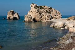 Aphrodite`s Rock beach. Petra tou Romiou, Cyprus. Aphrodite`s Rock beach. Petra tou Romiou is the birthplace of Goddess Aphrodite. Pahos, Cyprus Stock Photography
