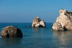 Aphrodite`s Rock beach. Petra tou Romiou, Cyprus. Aphrodite`s Rock beach. Petra tou Romiou is the birthplace of Goddess Aphrodite. Pahos, Cyprus Royalty Free Stock Photo