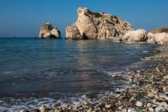Aphrodite`s Rock beach. Petra tou Romiou, Cyprus. Aphrodite`s Rock beach. Petra tou Romiou is the birthplace of Goddess Aphrodite. Pahos, Cyprus Stock Photos