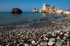 Aphrodite`s Rock beach. Petra tou Romiou, Cyprus. Aphrodite`s Rock beach. Petra tou Romiou is the birthplace of Goddess Aphrodite. Pahos, Cyprus Stock Photo