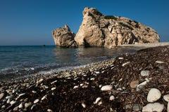 Aphrodite`s Rock beach. Petra tou Romiou, Cyprus. Aphrodite`s Rock beach. Petra tou Romiou is the birthplace of Goddess Aphrodite. Pahos, Cyprus Royalty Free Stock Image