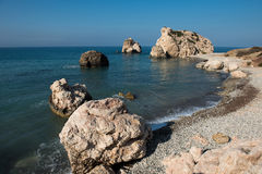 Aphrodite`s Rock beach. Petra tou Romiou, Cyprus. Aphrodite`s Rock beach. Petra tou Romiou is the birthplace of Goddess Aphrodite. Pahos, Cyprus Stock Images