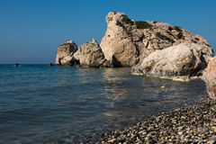 Aphrodite`s Rock beach. Petra tou Romiou, Cyprus Royalty Free Stock Images
