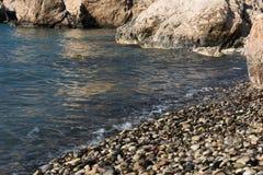 Aphrodite`s Rock beach. Petra tou Romiou, Cyprus. Aphrodite`s Rock beach. Petra tou Romiou is the birthplace of Goddess Aphrodite. Pahos, Cyprus Royalty Free Stock Photos