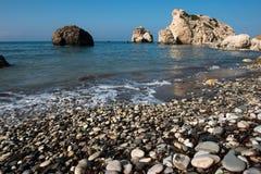 Aphrodite`s Rock beach. Petra tou Romiou, Cyprus Stock Photo