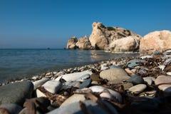 Aphrodite`s Rock beach. Petra tou Romiou, Cyprus Royalty Free Stock Photography
