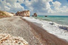 Aphrodite's rock and beach Petra tou Romiou Royalty Free Stock Photography