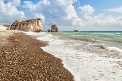 Aphrodite's rock and beach Petra tou Romiou Stock Image