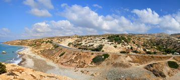Aphrodite's Rock, Cyprus. Coast in the Cyprus west. The birthplace of Venus - panorama Stock Image