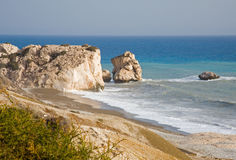 Aphrodite's Rock, Cyprus. A view of the rock in Cyprus belonging to Aphorodite the goddess of love royalty free stock image