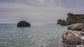 Aphrodite s Rock, Cyprus. Mediterranean, geology.  Holiday Destination Royalty Free Stock Images
