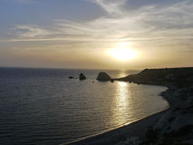 Aphrodite's Rock Cyprus at Sunset Royalty Free Stock Image