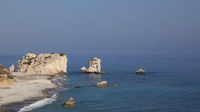 Aphrodite's Rock, high angle view - Petra Tou Romiou, Cyprus stock video