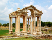 Aphrodite's temple. The entrance to Aphrodite's temple at  Aphrodisias, Turkey Royalty Free Stock Photo