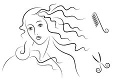 aphroditehår s royaltyfri illustrationer