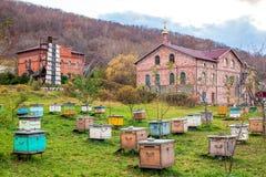Apiário com as colmeias do St Seraphim Monastery foto de stock royalty free
