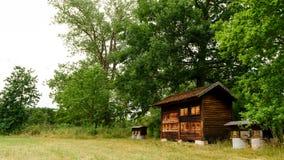 Apiário de madeira com colmeias Foto de Stock Royalty Free