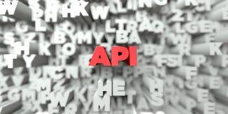 API - Κόκκινο κείμενο στο υπόβαθρο τυπογραφίας - τρισδιάστατο δικαίωμα ελεύθερη εικόνα αποθεμάτων Στοκ εικόνα με δικαίωμα ελεύθερης χρήσης