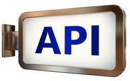 API on billboard background. API wall light box billboard background , isolated on white Stock Images