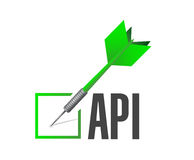 Api check dart sign concept illustration Stock Images