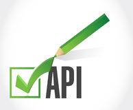Api check mark sign concept illustration Stock Photography
