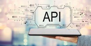 API concept met tabletcomputer stock fotografie