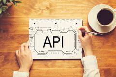 API concept with a person writing in a notebook. On a wooden table stock images