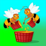 Api e miele Illustrazione di Stock