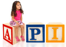API with Girl. Stock Photo