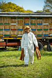 Apiarist. At work in his apiary Royalty Free Stock Images