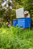Apiarist man working in nature in summer royalty free stock photography