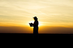 Apiarist at sunset. Apiarist silhouette in the field holding a smoker at sunset. Warm tones, sunlight Royalty Free Stock Photos