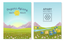 Apiary in alpine meadows mountains. Honey Farm. Stock Photos