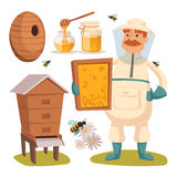 Apiary beekeeper vector illustrations Royalty Free Stock Photos