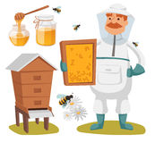 Apiary beekeeper vector illustrations Royalty Free Stock Images