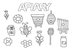 Apiary bees and honey elements hand drawn set. Coloring book template. Stock Image