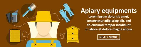 Apiary equipments banner horizontal concept. Flat illustration of apiary equipments banner horizontal vector concept for web Royalty Free Stock Photo