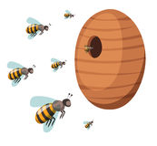 Apiary honey bee house apiary vector illustrations Royalty Free Stock Photography
