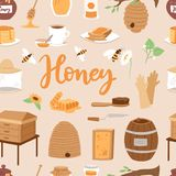 Apiary honey farm vector illustrations beekeeping honecomb jar natural organic sweet insect honied beeswax honeyed Stock Photography