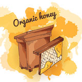 Apiary icon for your design. Vector sketch, sweet natural food. Honey production in hand drawn style Royalty Free Stock Photos