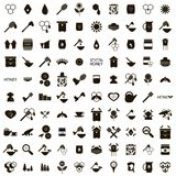 100 Apiary icons set. In simple style isolated on white background Royalty Free Stock Images