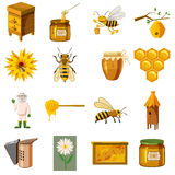 Apiary icons set, cartoon style Stock Image