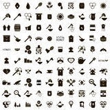 100 Apiary icons set. In simple style isolated on white background Stock Images