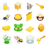 Apiary isometric 3d icon. 16 symbols  on a white background Royalty Free Stock Image