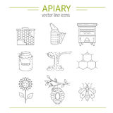 Apiary line icons set Stock Images