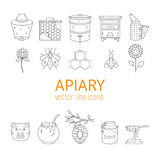 Apiary line icons set Stock Photo