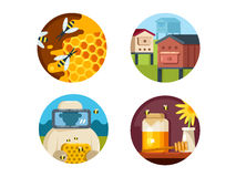 Apiary set icons Stock Images
