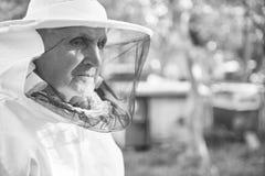 Apicoltore senior che lavora alla sua arnia Fotografia Stock